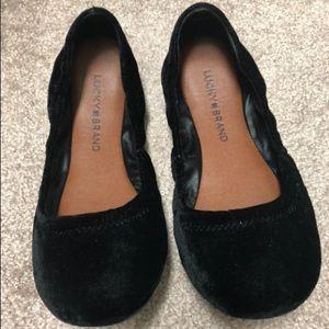 Lucky Brand Black Velvet Emmie Ballet Flats 6 1/2